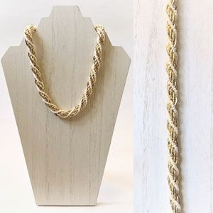 VTG Gold Toned Chain Faux Pearl Twisted Necklace